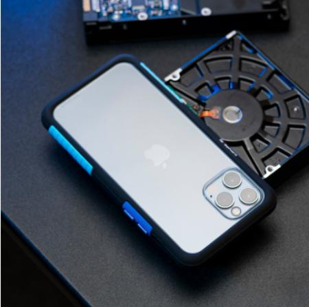 TELEPHANT 太樂芬|NMDER抗汙防摔框 iPhone 12mini 黑聖保羅藍