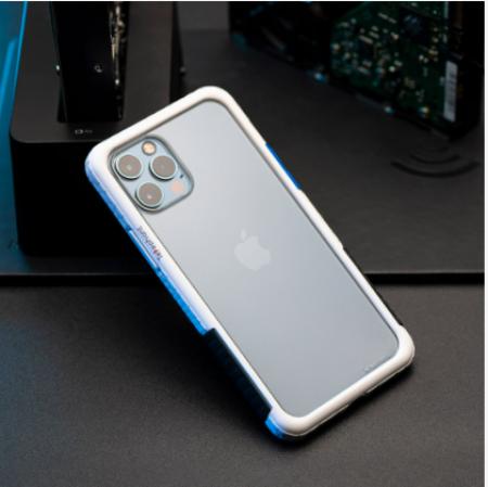TELEPHANT 太樂芬 NMDER抗汙防摔框 iPhone 12mini 白東京藍