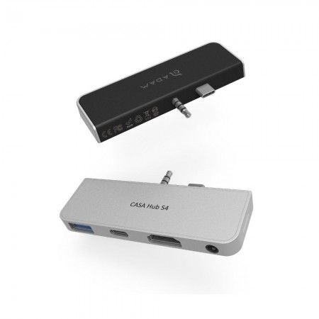 亞果元素 CASA Hub S4 USB−C 四合一 Microsoft Surface Go 集線器 黑銀