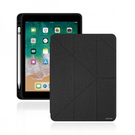 iPad 2018 Amos 9.7吋 多角度折疊布紋皮套 (含Apple pencil槽)
