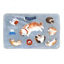 法蘭絨貓咪個人空調毯(柴犬與貓)