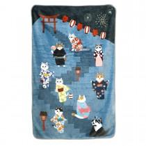 法蘭絨貓咪個人空調毯(藍色煙花聚會)