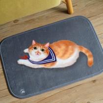法蘭絨貓咪小地墊(穿制服的貓)