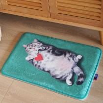 法蘭絨貓咪小地墊(給你我的愛)