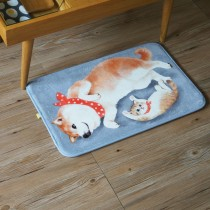 法蘭絨貓咪地墊(柴犬與貓)