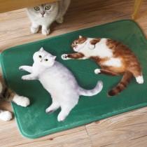法蘭絨貓咪地墊(狸花貓與英短貓)