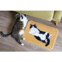 法蘭絨貓咪小地墊(奶牛貓)