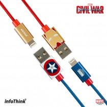 【+1元多一條】InfoThink 美國隊長 / 鋼鐵人  快充lightning傳輸線